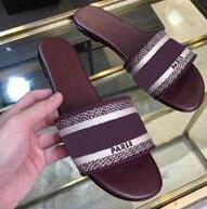 sandales roses pour la plage achat en gros de-Top qualité 2019 luxe Designer Bleu Blanc rayures Sandales Denim Flat Slipprs Marque Chaussures Dames D'été en plein air plage causal Flip Flops