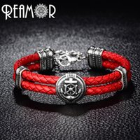 Wholesale titanium braided resale online - REAMOR Double Braided Leather Rudder Anchor Charms Bracelet L Stainless Steel Bead Trendy Bracelet Bangles Men Jewelry
