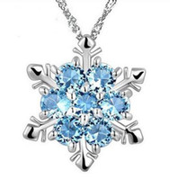 Wholesale frozen jewelry online - Fashion Jewelry Blue Crystal Snowflake Frozen Flower Silver Necklace Pendants With Chain