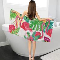 Wholesale flamingo towels for sale - Group buy flamingo bath towels rectangular shape creative digital printed green plant superfine fiber sunscreen bath beach towel shawl