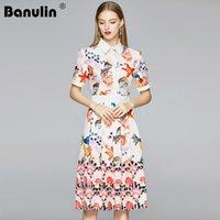 Wholesale fashion world dresses resale online - Banulin New Arrival Summer Fashion Runway Shirt Dress Women Short Sleeve See World Starfish Shell Print Pleated Midi Dress