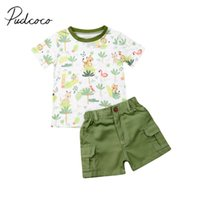 Wholesale vest t shirts boys for sale - Group buy 2019 Baby Summer Clothing Toddler Kids Baby Boys Clothes Top T Shirt Pocket Short Bottoms Animals Print Cotton Outfit