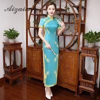 chinesisches traditionelles kleid grün großhandel-Chinese Traditional Grün Cheongsam Moderne Qipao langen Hochzeit Stickerei-Kleid Braut Traditionen Oriental Abendkleid
