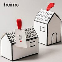 kleine haus geschenk-boxen groihandel-10pcs Kreative Kleines Haus Box Biscuit Süßigkeit Backen Verpackung Box-Baby-Geburts-Party-Geschenke Socken-Dekoration Boxes Dessert