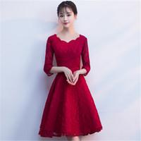 dantel şık cheongsam toptan satış-Artı Boyutu 3XL Zarif Qipao Gelin Düğün Parti Elbise Seksi Zarif Dantel Cheongsam Akşam Örgün Önlük Parlama Kol Vestidos
