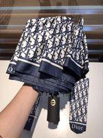 bolsas de regalo plegables al por mayor-NUEVO 3 colores Classic pattern full letter D umbrella Para mujeres 3 Fold Luxury Umbrella with gift Box And Bag Rain Umbrella VIP gift (Anita)