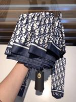 ingrosso sacchetti di regalo pieghevoli-NUOVO 3 colori Ombrello classico a lettera intera D per donna Ombrello di lusso 3 pieghe con confezione regalo e borsa Ombrello da pioggia regalo VIP (Anita)