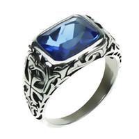 mavi taş gümüş yüzük toptan satış-Gerçek Saf Erkekler Için 925 Ayar Gümüş Yüzük Mavi Doğal Kristal Taş Erkek Yüzük Vintage Hollow Oyulmuş Çiçek Güzel Takı