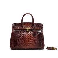 kahverengi bayan omuz çantası toptan satış-35cm H K Kahverengi Asma Kilit Tasarımcı Çanta Marka Timsah Kabartmalı Gerçek Deri Kadınlar Bez Omuz Crossbody Çanta Çantalar bayanlar