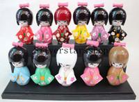 bonecas japonês kokeshi venda por atacado-10 pçs / set 9 cm Madeira Boneca Oriental KOKESHI Japonês Boneca com Boneca KIMONO Figura