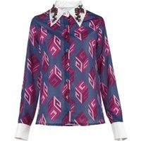 kadın gömlekleri elmas taklidi yaka toptan satış-2019 İlkbahar Yaz Yeni Mor Geometrik Desen Rhinestone Yaka Gömlek Tasarımcı Kadınlar Gömlek Bluzlar Slim Fit Artı Boyutu S-XL Tops