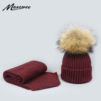 Wholesale black knitted scarf resale online - Winter Knitted Real Fur Hat Women Thicken Beanies with Real Raccoon Fur Pompoms Warm Girl Caps snapback pompom beanie Hats Scarf