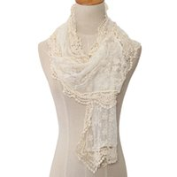 lenços de rosa venda por atacado-Nova Moda Japen Doce Estilo Oco Rendas Subiu Floral Knit Longo Cachecol Mulheres Lenços Bordados de Todos Os Xales Wraps Wraps