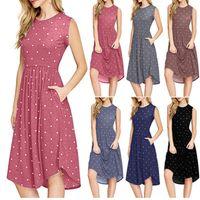 vestido retro venda por atacado-Dot mangas dress 6 cores verão o pescoço polka dot casual feminino cintura alta retro vestidos de praia ooa6995
