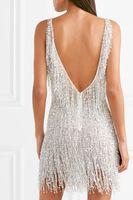 Wholesale white short prom dresses resale online - Gatsby V neck embellished chiffon mini dress mini Prom dress sexy back elegant factory evening gowns customsize dress