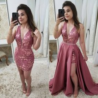 Wholesale red carpet mini cocktail dresses for sale - Group buy 2019 New Arrival Dusky Pink Evening Dresses With Detachable Skirt Sexy V Neck Appliques Sheath Mini Short Prom Cocktail Gowns