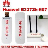 modem lte usb venda por atacado-Novo Original Desbloquear HUAWEI E3372 E3372h-607 150 Mbps 4G LTE Modem USB Dual Antena Portas de Suporte Todo o Banda com CRC9antenna