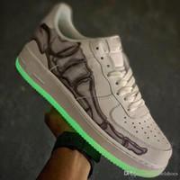 ayakkabı telleri toptan satış-İskelet Cadılar Bayramı Nightlight Görünür Kaykay Ayakkabı Yeni Moda Lider Tasarımcı Erkek Kadın Basketbol Ayakkabıları Boyutu 36-45