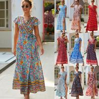 Wholesale plus size short sundresses resale online – Floral V Neck Dress Colors Women Summer Vintage Boho Long Maxi Party Dresses Beach Sundress LJJO6990