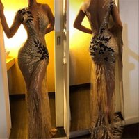 Wholesale one strap backless prom dress for sale - Group buy Vintage Sequin Mermaid Prom Evening Dresses Sheer One Shoulder Sleeve Long Sleeve Lace Applique Sweep Train Formal Party Gowns