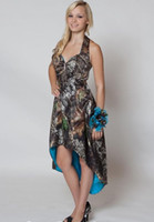 High Low Cheap Camo Party Bridesmaid Dresses halter Short Front Long Back Blue Satin Backless Prom Evening Dress For Weddings