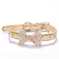 Wholesale Crystal PU Leather Dog Collar Perros Bling Rhinestone Cute Puppy Collars For Small Dogs Pet Accessories Dog Products Mascotas