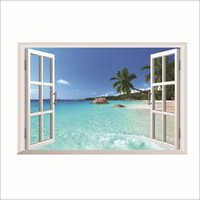 Wholesale beach art decor online - 3D False Windows Landscape Wall Stickers Home Decor Bedroom Seaside Beach Scenery PVC Wall Decals Coconut Tree Art Mural Poster