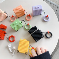Wholesale cute earphones for sale - Group buy Silicone Earphone Case Cover Cute Suitcase Earphone Cases with Hook For phone Earphone storage bag party favor FFA2199