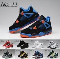 basketbol ayakkabıları yeşil renkte toptan satış-4 Eminem Encore Saf Para Beyaz Çimento basketbol Royalty Bred Toro Bravo Thunder Yeşil Glow Ayakkabı 4s Erkek Sneakers