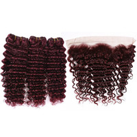 Wholesale 99j human hair weave wavy for sale - Group buy Pure J Wine Red Indian Human Hair Deep Wave Bundles with Lace Frontal Deep Wavy Burgundy Hair Weaves with Full Lace Closure x4