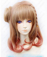 коричневый парик harajuku оптовых-Wig Cosplay AMNESIA Harajuku Department brown/ Copper red gradient Wig Free Shipping