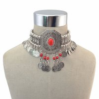 Wholesale turkish coin silver necklace resale online - Gypsy Turkish Boho Antique Silver Red Green Stone Choker Necklace with Coin Tassel Ethnic Coin Statement Necklace Bracelet Sets