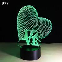 ingrosso luce notturna della lampada di cuore-Creativity 3D USB Night Lamp LED che cambia colorato Love Heart 3D Stereo Touch Lights San Valentino Regalo Camera da letto Nightlight Lampada LED da tavolo