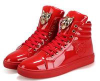 botas de cordones casuales para hombre al por mayor-VERSACE Otoño con cordones de los hombres zapatos de gran tamaño hombre hebilla botines casuales zapatos de cuero de moda de invierno para hombre pisos