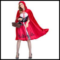 traje de cosplay vermelho venda por atacado-New Chegou Halloween Womens Suit Designer Womens ternos traje capa de luxo Little Red Riding por Mulheres Gabardinas + Vestidos Tamanho S-XL Cosplay