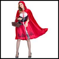 costume rouge des femmes achat en gros de-Nouveau Arrivé Femmes Halloween Costume Designer Femmes Costumes de luxe Le petit chaperon rouge Costume pour femmes Capes + Robes Taille S-XL Cosplay