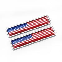 emblèmes de voiture de drapeau achat en gros de-États-Unis États-Unis Drapeau en alliage de Zinc Autocollant pour voiture Étiquette Emblème Badge style de voiture [58x14mm]