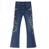 broderie ajourée achat en gros de-ACRMRAC jeans femme femme Printemps et automne Taille haute Perles broderies ajourées Petit pantalon évasé Pantalon long jeans Femme