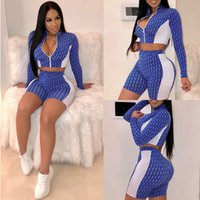 Wholesale sexy girl box for sale - Group buy Women Letter Print Piece Sets Zipper Tracksuits Girls Sexy Patchwork Turtleneck Long Sleeve Crop Top and Shorts Set Active Outfits