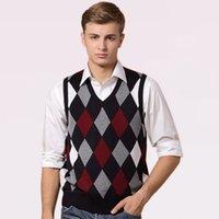 ingrosso uomini blu maglione maglione-Designer Maglione Pullover Knit Vest per uomo Sleeveless Wool Moda elegante Casual con scollo a V di base Rosso blu a scacchi 2018 0827