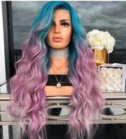 ingrosso parrucca riccia riccia lunga blu-Europee e americane New Blue Gradient viola tinti Riccioli capelli sintetici Cosplay Big Wave naturale lunga piena dei capelli ricci