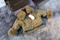 kürk perakende toptan satış-Kış Kız Sahte kürk Hırka Moda Sıcak Lüks Pembe Baskılı Coats Çocuk perakende giysi eskitmek