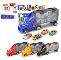 Wholesale mini car set resale online - 33Pcs Set Big Truck Diecast Model Car for Children Christmas Gifts Cars Toys Vehicles Metal mini car track with Road