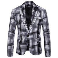 colete formal para homem venda por atacado-2019 Nova Chegada Roupas de Marca Mens Primavera Listra Formal Manga Longa Colete Jaqueta Homens Blazer Top Coat Americana Hombre