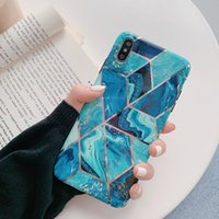 Wholesale mosaic shells resale online - For IPhone Pro Max Plating blue mosaic marble Plus matte soft shell TPU XS Max XR anti drop phone case
