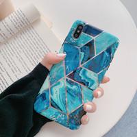 mármol azul al por mayor-Para iPhone 11 Pro Max Plating blue mosaic marble 6 7 8 Plus carcasa suave mate TPU XS Max XR funda antideslizante para teléfono