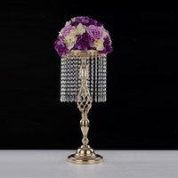Wholesale chinese table vases for sale - Group buy 70cm Rhinestone Candelabra Wedding Party Elegant Candle Holder Pretty Table Centerpiece Vase Stand Crystal Candlestick Wedding Decoration