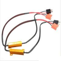 ingrosso h11 decoder principale-Il cavo CANbus per LED DRL Nebbia Turn Singal Resistore di carico Canbus Error Free Decodificatore di cablaggio Cablaggio 2X H7 50W 6Ohm Car
