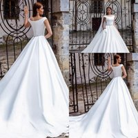 Wholesale model court dress resale online - Elegant White A Line Bohemian Wedding Dress Off Shoulders Satin Long Court Train Boho Bridal Gowns Custom Made
