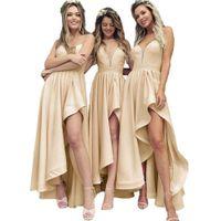 vestido asimétrico de la dama de honor del coral al por mayor-Modest 2019 Pink Longitud asimétrica Vestidos de damas de honor para bodas occidentales Una línea Correas de espagueti Volantes Vestidos del banquete de boda BM0173